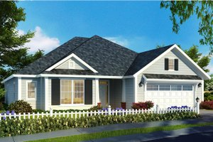 Ranch Exterior - Front Elevation Plan #513-2173