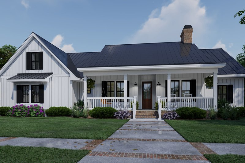 Farmhouse Style House Plan - 4 Beds 3 Baths 2192 Sq/Ft Plan #120-263 Exterior - Front Elevation