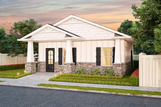 Ranch Exterior - Front Elevation Plan #1077-6