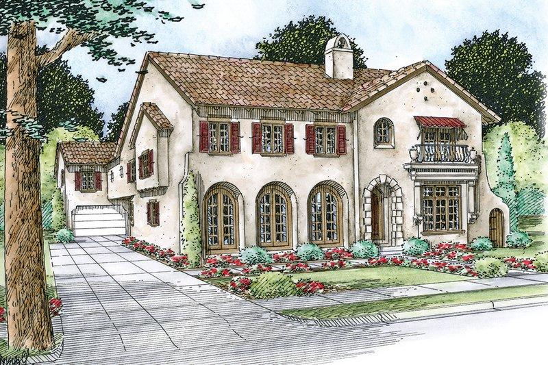 Dream House Plan - Mediterranean Exterior - Front Elevation Plan #20-2169