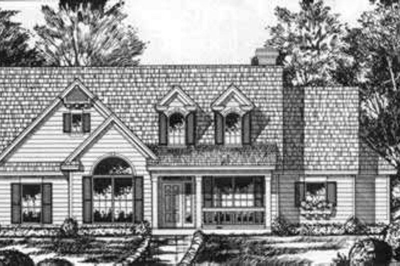 Southern Exterior - Front Elevation Plan #40-352