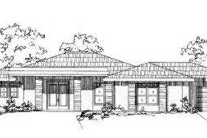 Adobe / Southwestern Exterior - Front Elevation Plan #24-187