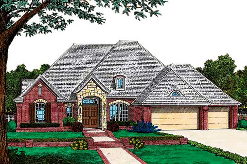 European Style House Plan - 4 Beds 3 Baths 2282 Sq/Ft Plan #310-728 Exterior - Front Elevation