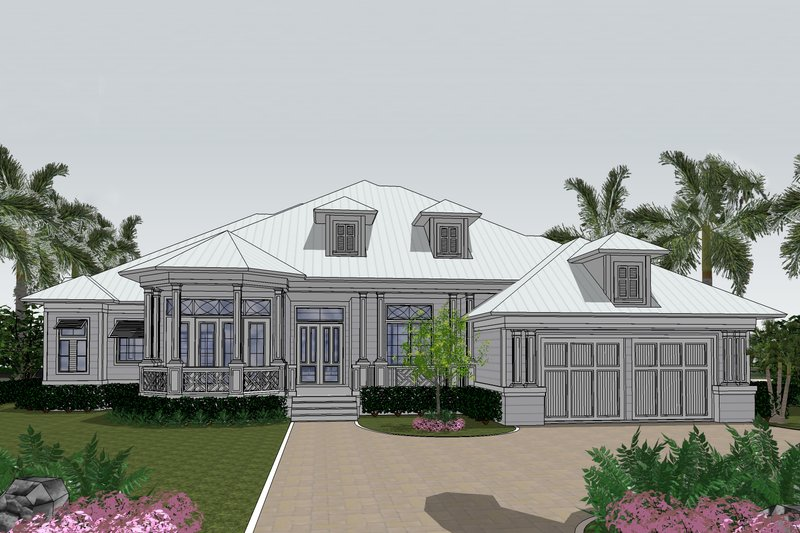Beach Style House Plan - 3 Beds 4.5 Baths 3140 Sq/Ft Plan #548-13 Exterior - Front Elevation
