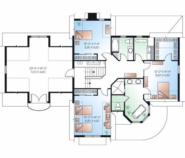 Victorian Floor Plan - Upper Floor Plan #23-835
