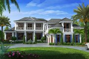 Beach Style House Plan - 6 Beds 6.5 Baths 10605 Sq/Ft Plan #27-462 Exterior - Front Elevation