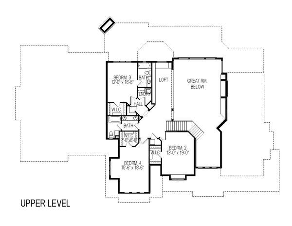 Craftsman Floor Plan - Upper Floor Plan Plan #920-59
