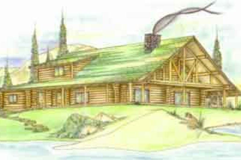 Log Exterior - Front Elevation Plan #117-113
