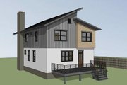 Contemporary Style House Plan - 3 Beds 2.5 Baths 2007 Sq/Ft Plan #79-316 Exterior - Rear Elevation