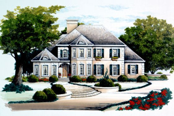 European Exterior - Front Elevation Plan #429-31