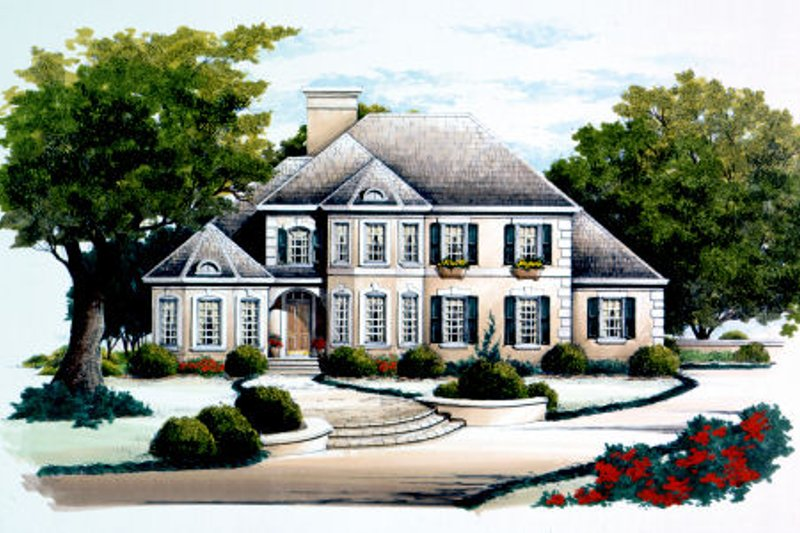 European Style House Plan - 4 Beds 3.5 Baths 2325 Sq/Ft Plan #429-31 Exterior - Front Elevation