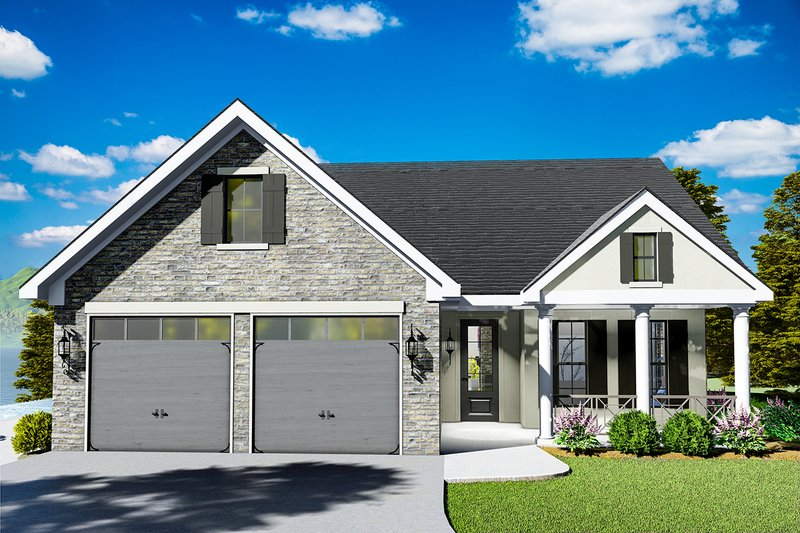 Cottage Style House Plan - 3 Beds 2 Baths 1725 Sq/Ft Plan #406-9660 Exterior - Front Elevation