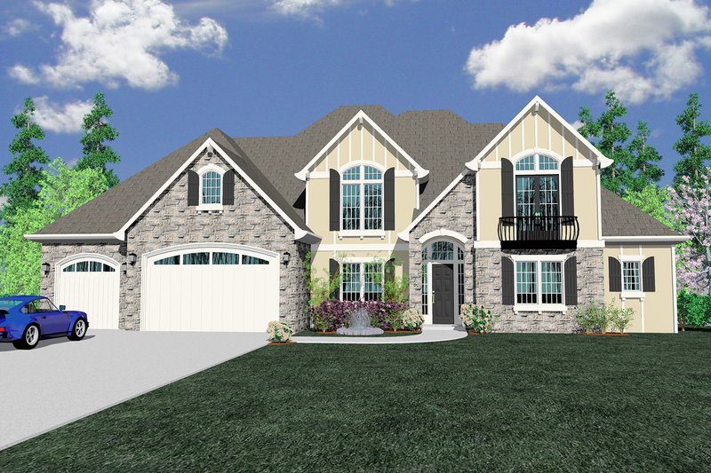 Traditional Style House Plan - 5 Beds 4.5 Baths 3556 Sq/Ft Plan #509-72 Exterior - Front Elevation