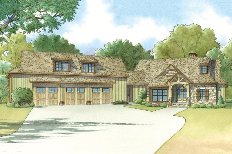 Craftsman Style House Plan - 4 Beds 4.5 Baths 4548 Sq/Ft Plan #923-21 Exterior - Front Elevation