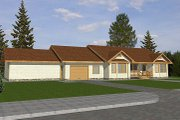 Ranch Style House Plan - 3 Beds 2 Baths 1994 Sq/Ft Plan #117-192 Exterior - Front Elevation