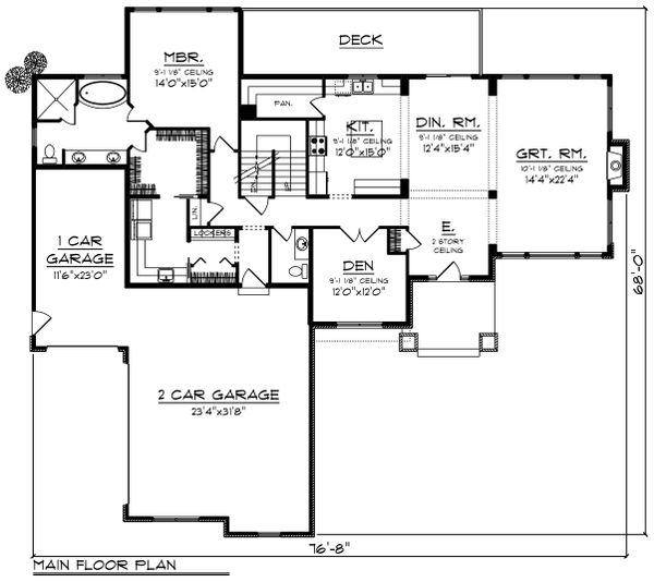 Craftsman Floor Plan - Main Floor Plan Plan #70-1428