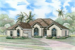 Mediterranean Exterior - Front Elevation Plan #17-1135