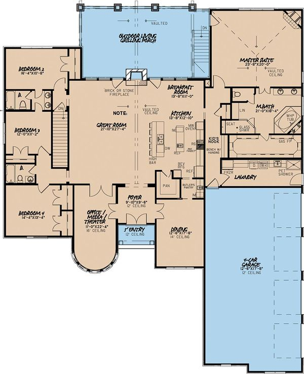 European Floor Plan - Main Floor Plan Plan #923-2