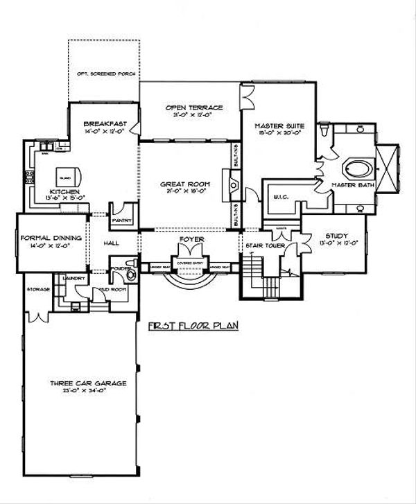 European Floor Plan - Main Floor Plan Plan #413-149
