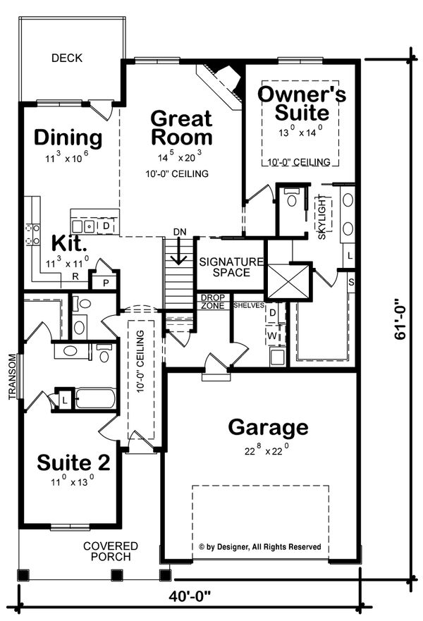 Craftsman Floor Plan - Main Floor Plan Plan #20-2262