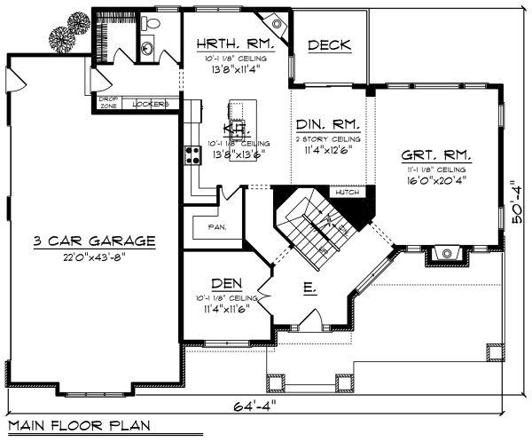 Craftsman Floor Plan - Main Floor Plan #70-1279