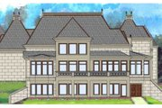 European Style House Plan - 4 Beds 4.5 Baths 4458 Sq/Ft Plan #119-346 Exterior - Rear Elevation
