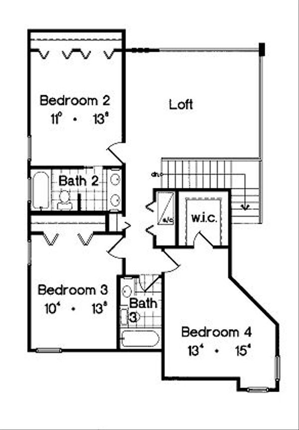 Mediterranean Floor Plan - Upper Floor Plan Plan #417-342