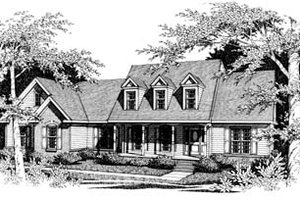 Colonial Exterior - Front Elevation Plan #10-205