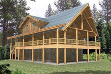 Log Exterior - Front Elevation Plan #117-127