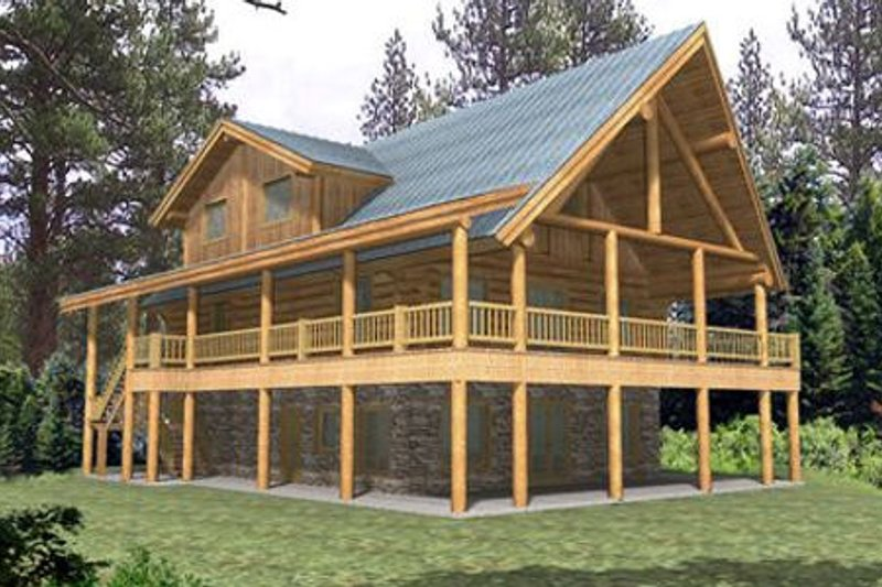 Dream House Plan - Log Exterior - Front Elevation Plan #117-127