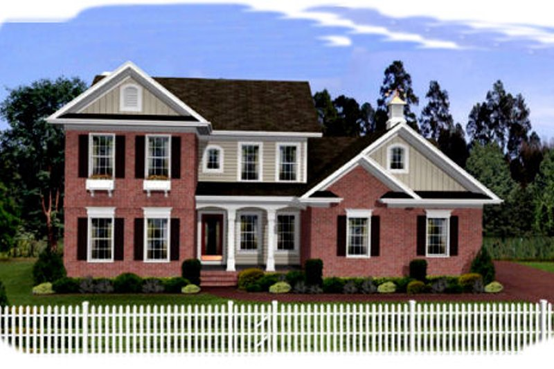 Southern Exterior - Front Elevation Plan #56-237