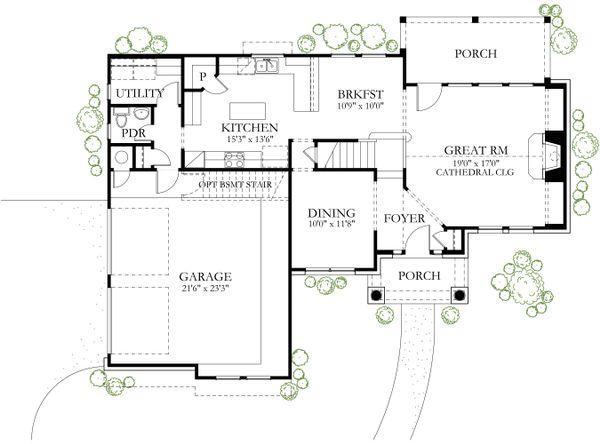 European Floor Plan - Main Floor Plan #80-129
