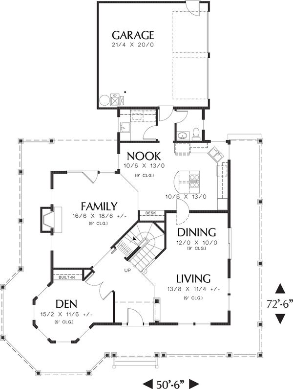 Main Level Floor Plan - 2400 square foot Country Home
