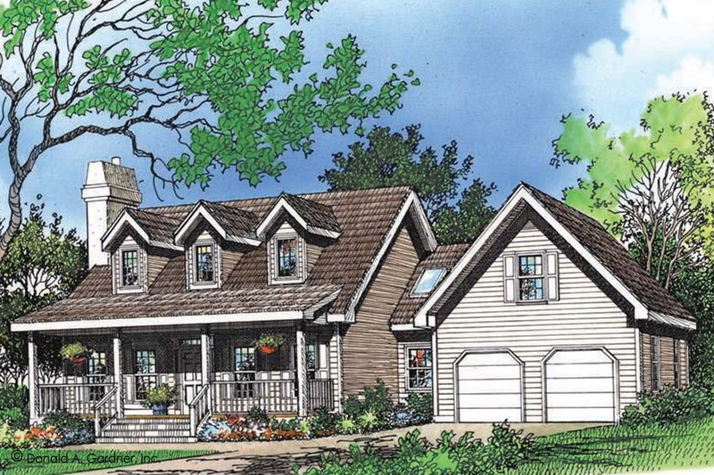 Farmhouse Style House Plan - 3 Beds 2.5 Baths 1557 Sq/Ft Plan #929-39 Exterior - Front Elevation