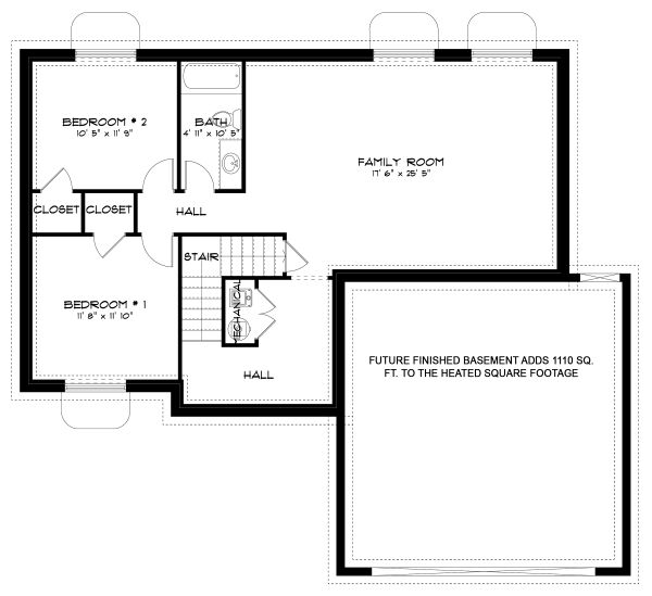 Traditional Floor Plan - Lower Floor Plan Plan #1060-49