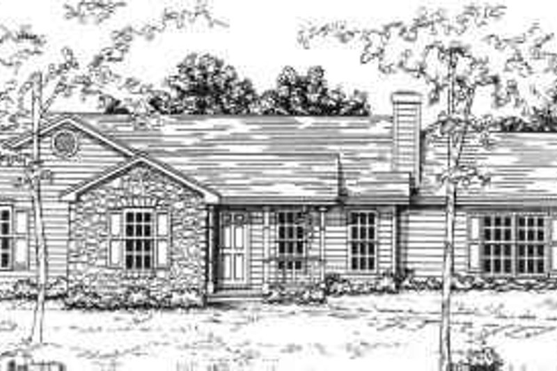 Ranch Style House Plan - 3 Beds 2 Baths 1208 Sq/Ft Plan #30-120 Exterior - Front Elevation