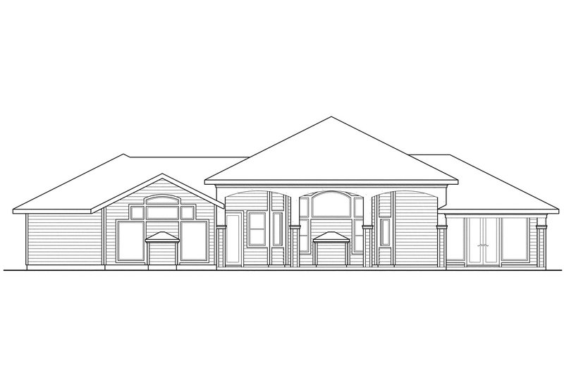 Exterior - Rear Elevation Plan #124-445 - Houseplans.com
