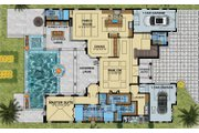 Mediterranean Style House Plan - 4 Beds 5.5 Baths 4450 Sq/Ft Plan #548-17 Floor Plan - Main Floor Plan