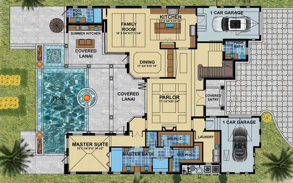 Mediterranean Floor Plan - Main Floor Plan Plan #548-17