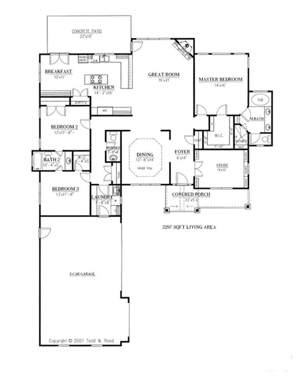 Craftsman Floor Plan - Main Floor Plan Plan #437-52