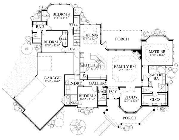 House Plan Design - European Floor Plan - Main Floor Plan #80-200