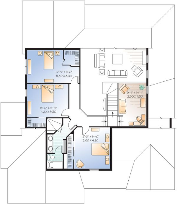 Upper level floor plan - 3000 square foot Traditional home