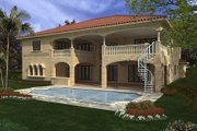 Mediterranean Style House Plan - 6 Beds 7.5 Baths 6175 Sq/Ft Plan #420-188 Exterior - Rear Elevation