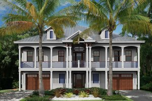Beach Exterior - Front Elevation Plan #27-566