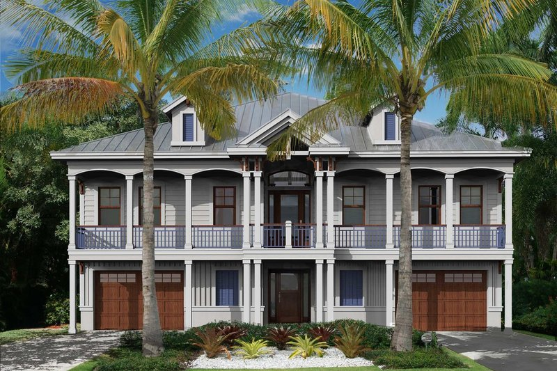 Beach Style House Plan - 2 Beds 2.5 Baths 6166 Sq/Ft Plan #27-566 Exterior - Front Elevation