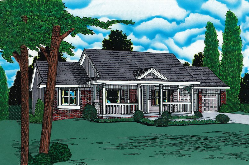 Ranch Style House Plan - 3 Beds 2.5 Baths 2042 Sq/Ft Plan #20-125 Exterior - Front Elevation