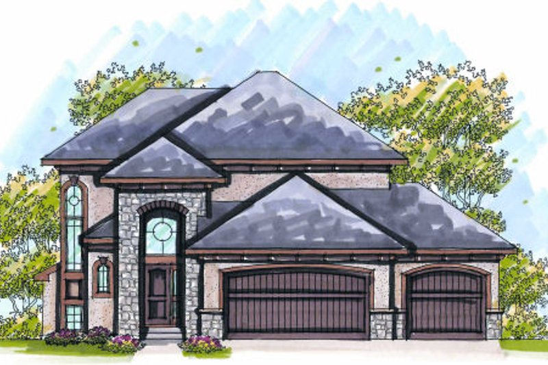 European Exterior - Front Elevation Plan #70-974