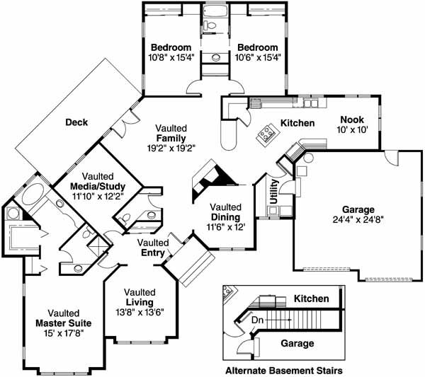 Mediterranean Floor Plan - Main Floor Plan Plan #124-401