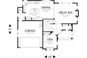 Traditional Style House Plan - 4 Beds 2.5 Baths 2453 Sq/Ft Plan #48-403 Floor Plan - Main Floor Plan