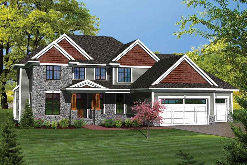 Craftsman Exterior - Front Elevation Plan #70-1062